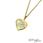 Small Los Angeles Map Necklace on Vintage Heart Locket - California Antique Map Jewelry