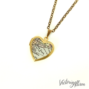 Small New York City Map Necklace on Vintage Heart Locket - New York Antique Map Jewelry