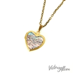 Small New Orleans Map Necklace on Vintage Heart Locket - Louisiana Antique Map Jewelry