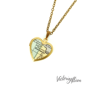 Small Portland Map Necklace on Vintage Heart Locket - Oregon Antique Map Jewelry