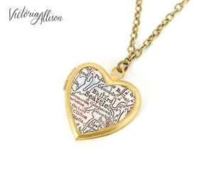 Small Seattle Map Necklace on Vintage Heart Locket - Washington Antique Map Jewelry