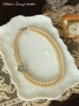 Ivory Pearl Double Strand Wedding Necklace with Vintage Rhinestone