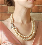 Eco Friendly Vintage Rhinestone and Ivory Pearl Double Strand Wedding Necklace