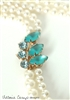 Eco Friendly Vintage Blue Rhinestone and White Pearl Double Strand Wedding Necklace