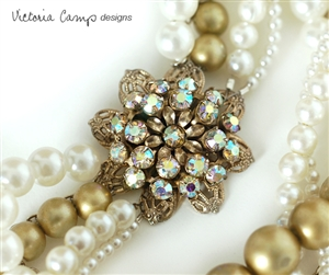 White and Golden Olive Layered Pearl Wedding Necklace with Vintage Aurora Borealis Rhinestone Flower