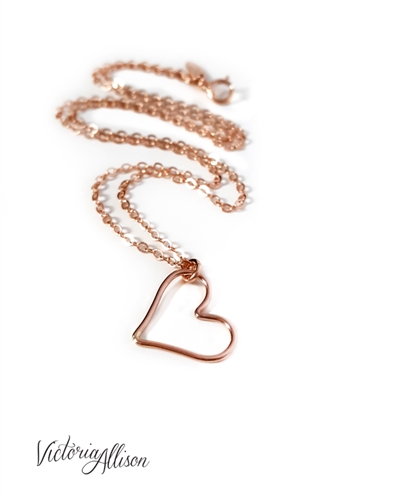 Rose Gold Heart Necklace Personalized Initial Charm Alphabet Letter Gift For Her Pink Valentines Day Gift