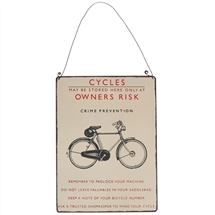 Bicycle Own Risk Metal Sign