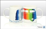 VW Coloured Stripes Campervan Mug