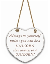 Always Be Unicorn Heart Plaque