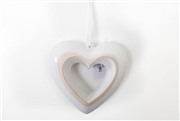 White Ceramic Hanging Heart 15x15cm