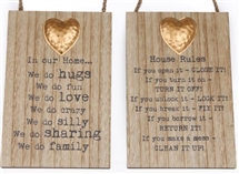 Wood Plaque With Metal Heart