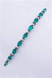 Oval Emerald and Diamond Bracelet in 14K White Gold