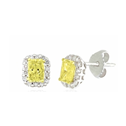 Radiant Fancy Yellow Diamond Earrings Surrounded by Round Diamonds in 18K Two-Tone Gold