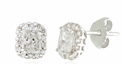 Radiant Diamond Earrings Surrounded by Round Diamonds in 18K White Gold