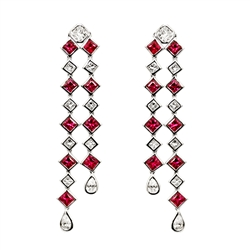 Diamond and Ruby Earring in 18K White Gold