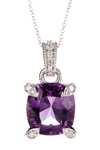 Amethyst and Diamond Pendant 14K White Gold