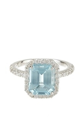 EMERALD CUT AQUAMARINE AND ROUND DIAMOND RING IN 18K WHITE GOLD