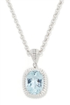 Aquamarine and Diamond Pendant 14K White Gold