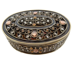 Amber Epoxy/Stone Oval Jewelry Box