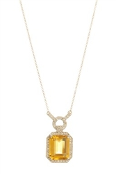 Citrine and Diamond Pendant 14K White Gold