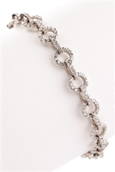 ROUND DIAMOND LINK BRACELET IN 18K WHITE GOLD