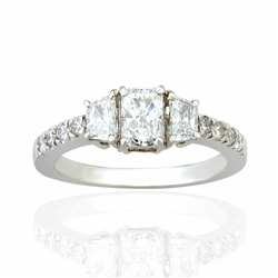 RADIANT CUT AND TRAPEZOID DIAMOND RING IN PLATINUM