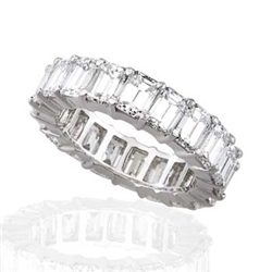 EMERALD CUT DIAMOND ETERNITY BAND HANDMADE IN PLATINUM (6.36 CTS)