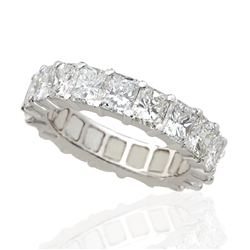 RADIANT CUT DIAMOND ETERNITY BAND HANDMADE IN PLATINUM