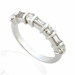 BAGUETTE AND ROUND DIAMOND BAND IN 18K WHITE GOLD
