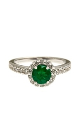 ROUND EMERALD AND ROUND DIAMOND RING IN 18KT WHITE GOLD