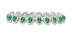 EMERALD AND ROUND DIAMOND BRACELET
