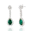 Pear Emerald and Round Diamond Earrings