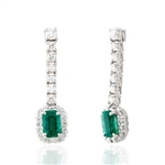 Emerald and Round Diamond Earrings