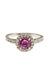 ROUND PINK SAPPHIRE AND ROUND DIAMOND RING IN 18K WHITE GOLD
