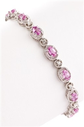 OVAL PINK SAPPHIRE AND DIAMOND BRACELET IN 18K WHITE GOLD