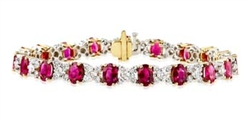 OVAL RUBY AND DIAMOND BRACELET IN 18K WHITE GOLD