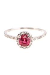 OVAL RUBY AND ROUND DIAMOND RING 18K IN WHITE GOLD