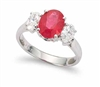 OVAL RUBY AND OVAL DIAMOND RING IN 18K WHITE GOLD