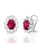 Oval Ruby and Round Diamond Earrings