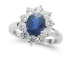 OVAL SAPPHIRE AND ROUND DIAMOND RING IN 18K WHITE GOLD