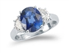 CUSHION SAPPHIRE AND HALF MOON DIAMOND RING PLATINUM
