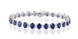 OVAL SAPPHIRE AND DIAMOND BRACELET IN 18K WHITE GOLD