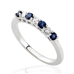 SAPPHIRE AND DIAMOND BAND IN 18K WHITE GOLD