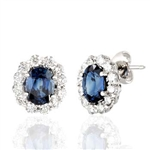 Oval Sapphire and Round Diamond Earrings