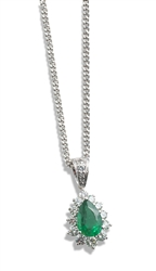 Pear Shaped Emerald and Round Diamond Pendant in 18K White Gold