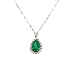 Pear Shape Emerald and Diamond Pendant in 18K White Gold