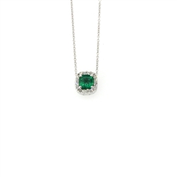 Emerald and Diamond Pendant 14K White Gold