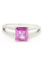 Emerald Cut Pink Sapphire Solitaire Split Shank Ring in 18K White Gold