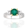 Round Emerald  and Diamond Ring in 18K White Gold