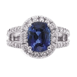 CUSHION SAPPHIRE AND RADIANT DIAMOND RING